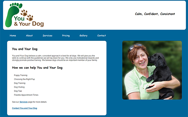You and Your Dog Website Home Page